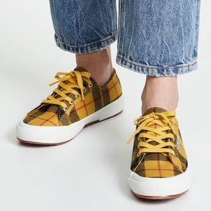 SUPERGA Yellow Plaid Tartan Shoes